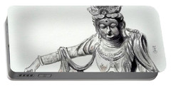 Portable Battery Charger featuring the painting An Oriental Statue At Toledo Art Museum - Ohio- 2 by Yoshiko Mishina