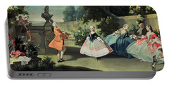 An Ornamental Garden With A Young Girl Dancing To A Fiddle Portable Battery Charger by Filippo Falciatore
