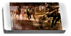 Portable Battery Charger featuring the photograph and the winner is - A vintage processed Menorca trotting race by Pedro Cardona
