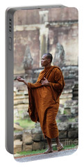 Angkor Wat Monk Portable Battery Charger by Nola Lee Kelsey