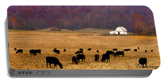 Portable Battery Charger featuring the photograph Angus And Oaks  Farm by Randall Branham