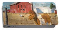 Portable Battery Charger featuring the painting At Home by Norm Starks
