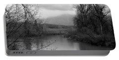Portable Battery Charger featuring the photograph At The River Turn Bw by Kathleen Grace