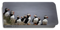 Atlantic Puffins On Cliff Edge Portable Battery Charger by Greg Dimijian