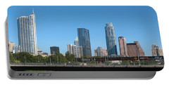 Portable Battery Charger featuring the photograph Austin Texas 2012 Skyline And Water Reflections by Connie Fox