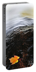 Autumn Leaf On River Rock Portable Battery Charger