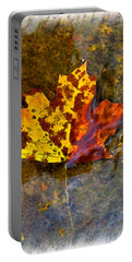Portable Battery Charger featuring the digital art Autumn Maple Leaf In Water by Debbie Portwood
