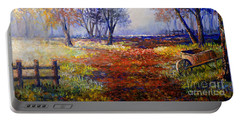 Portable Battery Charger featuring the painting Autumn Wheelbarrow by Lou Ann Bagnall