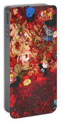 Portable Battery Charger featuring the painting Baba's Garden Lg by Alys Caviness-Gober