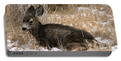 Baby Deer At Rest Portable Battery Charger by Nola Lee Kelsey