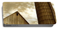 Barn And Silo In Sepia Portable Battery Charger