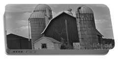 Barns And Silos Black And White Portable Battery Charger by Pamela Walrath