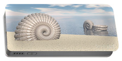 Portable Battery Charger featuring the digital art Beach Of Shells by Phil Perkins