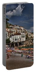 Beach Scene In Amalfi On The Amalfi Coast In Italy Portable Battery Charger
