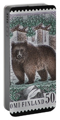 Bear Vintage Postage Stamp Print Portable Battery Charger