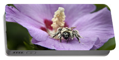 Portable Battery Charger featuring the photograph Bee Covered In Pollen  by Jeannette Hunt