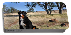 Bernese Mountain Dog In California Chaparral Portable Battery Charger
