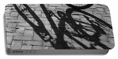 Bicycle Shadows In Black And White Portable Battery Charger by Suzanne Gaff