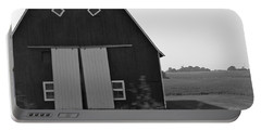 Big Tooth Barn Black And White Portable Battery Charger by Pamela Walrath