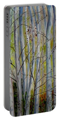 Portable Battery Charger featuring the painting Birch Forest by Julie Brugh Riffey