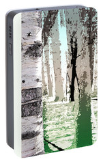 Portable Battery Charger featuring the digital art Birch Forest by Phil Perkins
