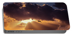 Bird In Sunrise Rays Portable Battery Charger