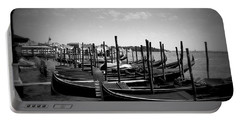 Portable Battery Charger featuring the photograph Black And White Gondolas by Laurel Best