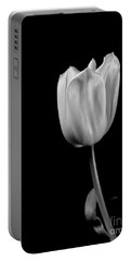 Black And White Tulip Portable Battery Charger