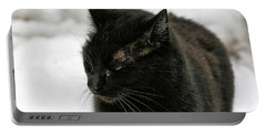 Black Cat White Snow Portable Battery Charger