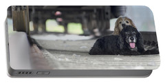 Blonde And Black Dogs Portable Battery Charger