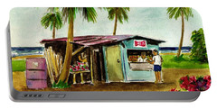 Blue Beach Shack Los Pinones Puerto Rico Portable Battery Charger by Frank Hunter