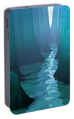 Portable Battery Charger featuring the digital art Blue Canyon River by Phil Perkins