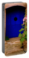Blue Door And Pink Hollyhocks Portable Battery Charger
