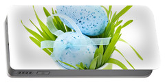 Blue Easter Eggs And Green Grass Portable Battery Charger