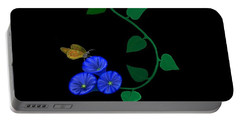 Blue Flower Butterfly Portable Battery Charger by Rand Herron