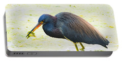 Blue Heron Having Lunch Portable Battery Charger
