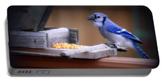 Portable Battery Charger featuring the photograph Blue Jay On Backyard Feeder by Kay Novy