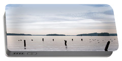 Portable Battery Charger featuring the photograph Blue Lake Muskoka by Les Palenik