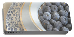 Blueberries In Blue And White China Bowl Portable Battery Charger by Lyn Randle