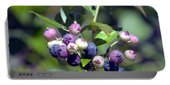 Blueberry Bunch With Raindrops Portable Battery Charger by Sharon Talson