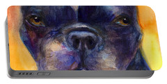 Boston Terrier Dog Portrait Painting In Watercolor Portable Battery Charger