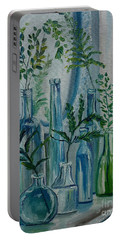 Portable Battery Charger featuring the painting Bottle Brigade by Julie Brugh Riffey