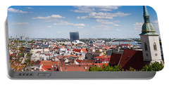Portable Battery Charger featuring the photograph Bratislava Roofs by Les Palenik