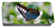 Portable Battery Charger featuring the photograph Bright Blue Butterfly by Peggy Franz