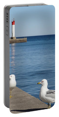 Portable Battery Charger featuring the photograph Bronte Lighthouse Gulls by Laurel Best