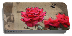 Portable Battery Charger featuring the photograph Bumble Bee And Rose by Donna  Smith