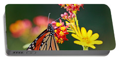 Butterfly Monarch On Lantana Flower Portable Battery Charger by Luana K Perez