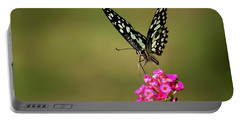 Butterfly On Pink Flower  Portable Battery Charger by Ramabhadran Thirupattur