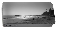 Bw Sunset Reflection At Laguna Beach With Inscription Portable Battery Charger by Connie Fox
