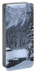 Portable Battery Charger featuring the photograph Cabin In The Snow by Alyce Taylor
